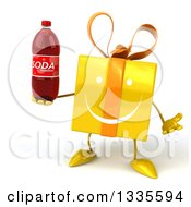 Clipart Of A 3d Happy Yellow Gift Character Shrugging And Holding A Soda Bottle Royalty Free Illustration by Julos