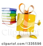 Clipart Of A 3d Happy Yellow Gift Character Giving A Thumb Up And Holding A Stack Of Books Royalty Free Illustration by Julos