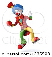 Clipart Of A 3d Colorful Clown Holding A Tomato And Jumping Royalty Free Illustration