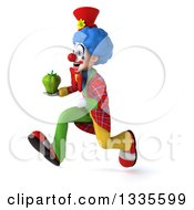 Clipart Of A 3d Colorful Clown Holding A Green Bell Pepper And Sprinting To The Left Royalty Free Illustration