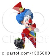 Clipart Of A 3d Colorful Clown Holding A Blackberry And Looking Around A Sign Royalty Free Illustration