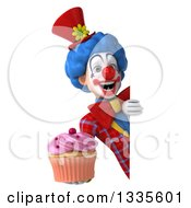Clipart Of A 3d Colorful Clown Holding A Pink Frosted Cupcake Around A Sign Royalty Free Illustration