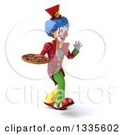 Clipart Of A 3d Colorful Clown Walking Slightly To The Right Waving And Holding A Pizza Royalty Free Illustration