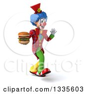 Clipart Of A 3d Colorful Clown Walking Slightly To The Right Waving And Holding A Double Cheeseburger Royalty Free Illustration