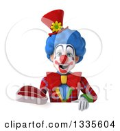 Clipart Of A 3d Colorful Clown Holding A Beef Steak Over A Sign Royalty Free Illustration