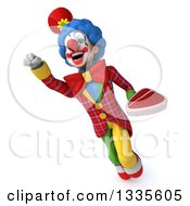 Clipart Of A 3d Colorful Clown Flying And Holding A Beef Steak Royalty Free Illustration