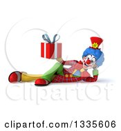 Clipart Of A 3d Colorful Clown Resting On His Side And Holding A Gift Royalty Free Illustration
