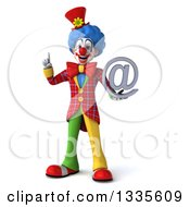 Clipart Of A 3d Colorful Clown Holding Up A Finger And An Email Arobase At Symbol Royalty Free Illustration