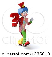 Clipart Of A 3d Colorful Clown Walking Slightly To The Right Waving And Holding A Question Mark Royalty Free Illustration