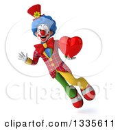 Clipart Of A 3d Colorful Clown Flying Waving And Holding A Heart Royalty Free Illustration