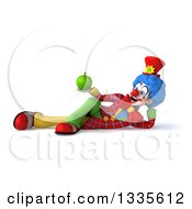 Clipart Of A 3d Colorful Clown Holding A Green Apple And Resting On His Side Royalty Free Illustration