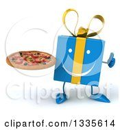 Clipart Of A 3d Happy Blue Gift Character Giving A Thumb Up And Holding A Pizza Royalty Free Illustration by Julos