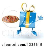 Clipart Of A 3d Happy Blue Gift Character Jumping And Holding A Pizza Royalty Free Illustration by Julos