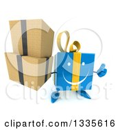 Clipart Of A 3d Happy Blue Gift Character Holding Up A Thumb And Boxes Royalty Free Illustration by Julos
