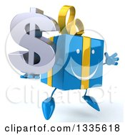 Clipart Of A 3d Happy Blue Gift Character Facing Slightly Right Jumping And Holding A Dollar Symbol Royalty Free Illustration by Julos