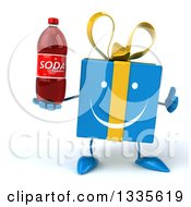 Clipart Of A 3d Happy Blue Gift Character Giving A Thumb Up And Holding A Soda Bottle Royalty Free Illustration by Julos