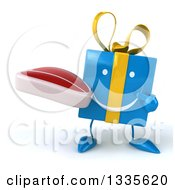 Clipart Of A 3d Happy Blue Gift Character Holding And Pointing To A Beef Steak Royalty Free Illustration by Julos