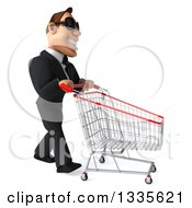 Clipart Of A 3d Macho White Businessman Wearing Sunglasses And Walking To The Right With A Shopping Cart Royalty Free Illustration by Julos