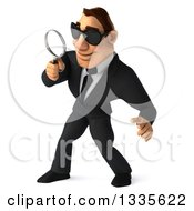 Clipart Of A 3d Macho White Businessman Wearing Sunglasses Facing Slightly Left Looking Down And Searching With A Magnifying Glass Royalty Free Vector Illustration by Julos