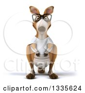 Clipart Of A 3d Bespectacled Casual Kangaroo Wearing A White Tee Shirt 3 Royalty Free Vector Illustration