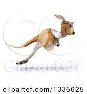 Clipart Of A 3d Bespectacled Casual Kangaroo Wearing A White Tee Shirt Facing Right And Hopping Royalty Free Vector Illustration