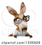 Clipart Of A 3d Bespectacled Casual Kangaroo Wearing A White Tee Shirt And Looking Down Over A Sign Royalty Free Vector Illustration