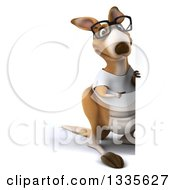 Clipart Of A 3d Full Length Bespectacled Casual Kangaroo Wearing A White Tee Shirt And Pointing Around A Sign Royalty Free Vector Illustration
