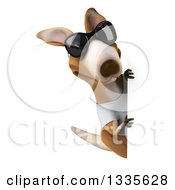 Clipart Of A 3d Casual Kangaroo Wearing A White Tee Shirt And Sunglasses Looking Around A Sign 2 Royalty Free Vector Illustration