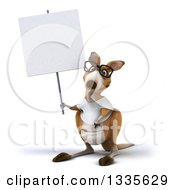 Clipart Of A 3d Bespectacled Casual Kangaroo Wearing A White Tee Shirt And Holding Up A Blank Sign Royalty Free Vector Illustration