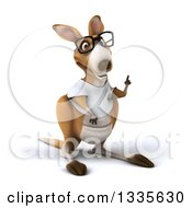 Clipart Of A 3d Bespectacled Casual Kangaroo Wearing A White Tee Shirt And Holding Up A Finger Royalty Free Vector Illustration