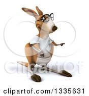 Clipart Of A 3d Bespectacled Casual Kangaroo Wearing A White Tee Shirt And Pointing To The Right Royalty Free Vector Illustration