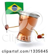 Clipart Of A 3d Beer Mug Character Shrugging And Holding A Brazilian Flag Royalty Free Illustration