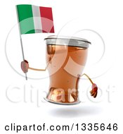 Clipart Of A 3d Beer Mug Character Holding An Italian Flag Royalty Free Illustration
