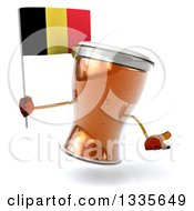 Clipart Of A 3d Beer Mug Character Shrugging And Holding A Belgian Flag Royalty Free Illustration