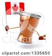Clipart Of A 3d Beer Mug Character Shrugging And Holding A Canadian Flag Royalty Free Illustration