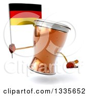Clipart Of A 3d Beer Mug Character Shrugging And Holding A German Flag Royalty Free Illustration