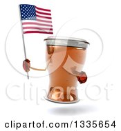 Clipart Of A 3d Beer Mug Character Holding And Pointing To An American Flag Royalty Free Illustration