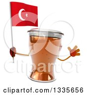 Clipart Of A 3d Beer Mug Character Jumping And Holding A Turkish Flag Royalty Free Illustration