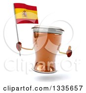 Clipart Of A 3d Beer Mug Character Giving A Thumb Up And Holding A Spanish Flag Royalty Free Illustration