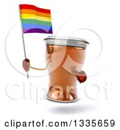 Clipart Of A 3d Beer Mug Character Holding And Pointing To A Rainbow Flag Royalty Free Illustration