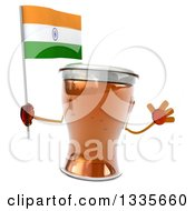 Clipart Of A 3d Beer Mug Character Jumping And Holding An Indian Flag Royalty Free Illustration