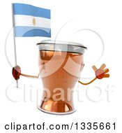 Clipart Of A 3d Beer Mug Character Jumping And Holding An Argentine Flag Royalty Free Illustration