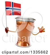Clipart Of A 3d Beer Mug Character Jumping And Holding A Norwegian Flag Royalty Free Illustration