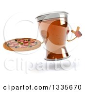 Clipart Of A 3d Beer Mug Character Holding Up A Finger And A Pizza Royalty Free Illustration by Julos