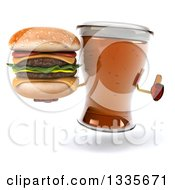 Clipart Of A 3d Beer Mug Character Giving A Thumb Up And Holding A Double Cheeseburger Royalty Free Illustration by Julos