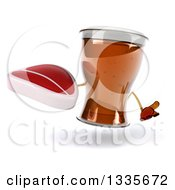 Clipart Of A 3d Beer Mug Character Shrugging And Holding A Beef Steak Royalty Free Illustration by Julos