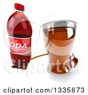Clipart Of A 3d Beer Mug Character Holding Up A Soda Bottle Royalty Free Illustration by Julos