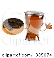 Clipart Of A 3d Beer Mug Character Jumping And Holding A Chocolate Glazed Donut Royalty Free Illustration by Julos