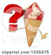 Clipart Of A 3d Strawberry And Vanilla Swirl Waffle Ice Cream Cone Character Shrugging And Holding A Question Mark Royalty Free Illustration