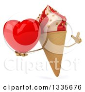 Clipart Of A 3d Strawberry And Vanilla Swirl Waffle Ice Cream Cone Character Holding Up A Finger And A Heart Royalty Free Illustration